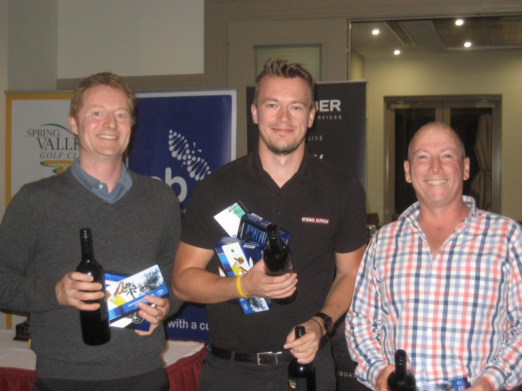 Three of the four members of the winning team: (l-r) Ben Cole, Steffen Reich, Mark Nicholson