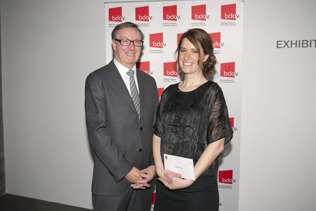 Pictured is Brian Morison with Lindsay Fischer after presenting her with the award